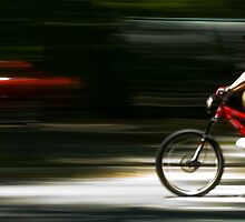 Cyclist in Central Park, NYC by NikonNoob