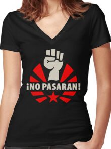 No Pasaran Fist & Star Women's Fitted V-Neck T-Shirt