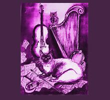 MUSICAL CAT AND OWL ,Purple Violet and White Unisex T-Shirt