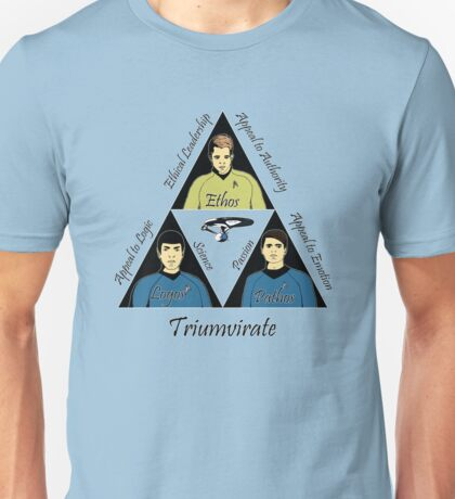 Star Trek Triumvirate - Black Text for Light shirts Unisex T-Shirt