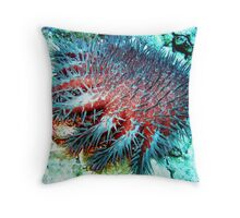Evil Crown of Thorns feasting on the Great Barrier Reef Throw Pillow