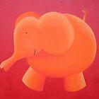 Orange elephant by Koekelijn