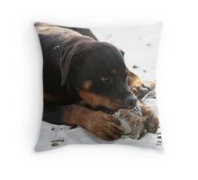 Vanuatu - The sun, the sand, the coconuts...and 4 big paws Throw Pillow