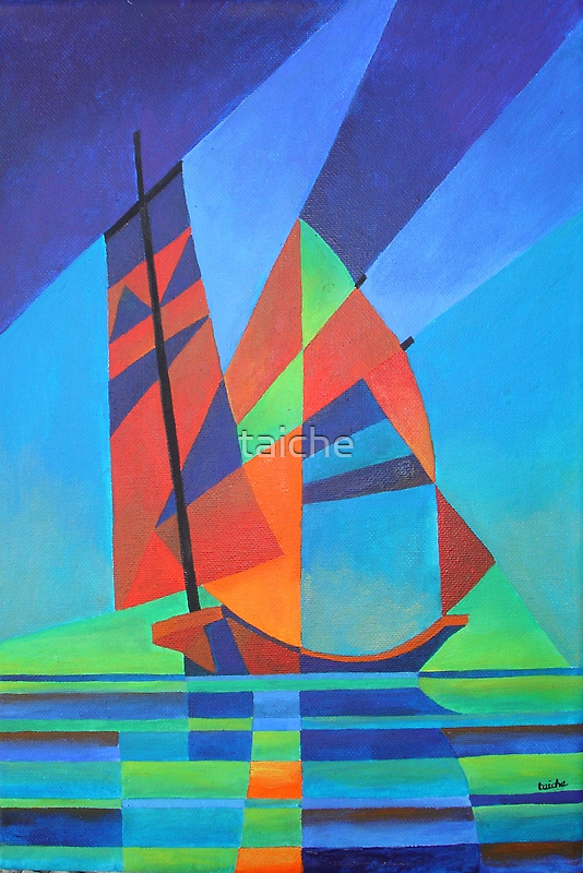 Cubist Abstract Junk Boat Against Deep Blue Sky by taiche