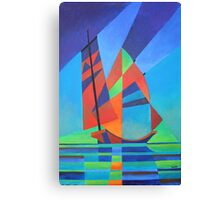 Cubist Abstract Junk Boat Against Deep Blue Sky Canvas Print