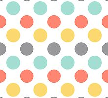 coral mint yellow polka dots pattern on white by oleynikka