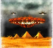 UFO Over Pyramid by Raphael Terra by esotericaart