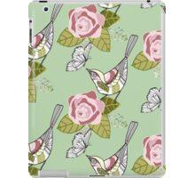 Bird and rose green iPad Case/Skin