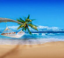 Palm tree on Exotic Beach by Digital Editor .