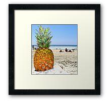 Homesick Pineapple On The Beach Framed Print