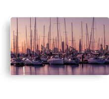 Boats nestled in front of Melbourne city Canvas Print