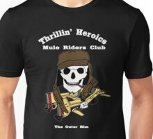 Thrillin' Heroics Mule Riders Club logo - white font Unisex T-Shirt