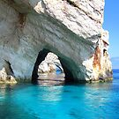 Azure Blue Arches - Zante, Greece. by Honor Kyne