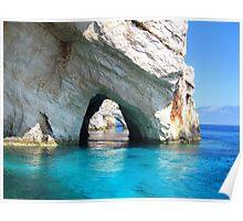 Azure Blue Arches - Zante, Greece. Poster