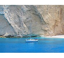 Boat on Blue, Shipwreck Beach Photographic Print
