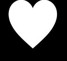 White Heart, Love Heart, Pure & Simple, on BLACK by TOM HILL - Designer