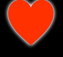 LOVE, Love Heart, Pure & Simple, RED Heart, on BLACK by TOM HILL - Designer