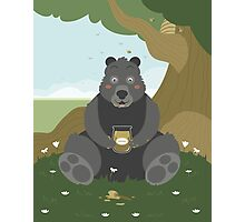 Bear with a jar of honey Photographic Print