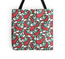 Crazy tangle doodle sea waves pattern Tote Bag