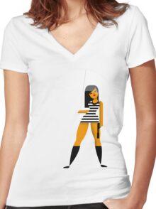 Umbrella girl Women's Fitted V-Neck T-Shirt