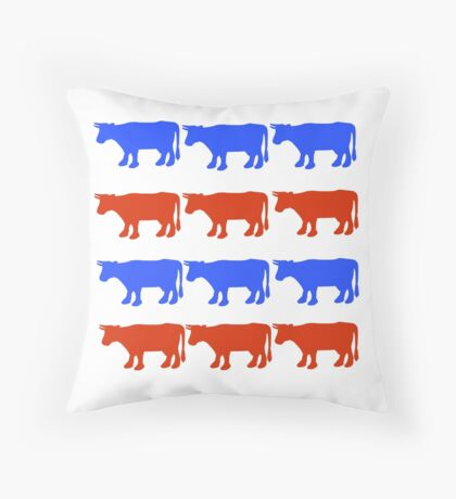 RED WHITE AND BLUE COWS Throw Pillow