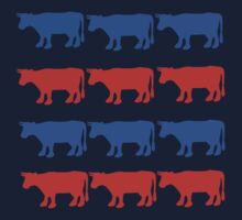 RED WHITE AND BLUE COWS One Piece - Long Sleeve