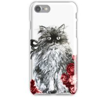 KITTEN WITH RED ROSES ,Black and White iPhone Case/Skin