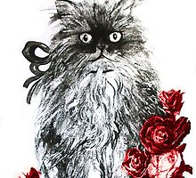 KITTEN WITH RED ROSES ,Black and White by BulganLumini