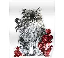 KITTEN WITH RED ROSES ,Black and White Poster