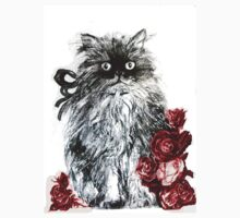 KITTEN WITH RED ROSES ,Black and White One Piece - Long Sleeve