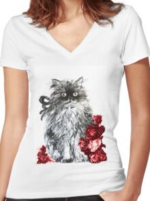 KITTEN WITH RED ROSES ,Black and White Women's Fitted V-Neck T-Shirt