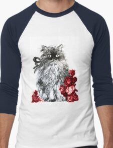 KITTEN WITH RED ROSES ,Black and White Men's Baseball ¾ T-Shirt