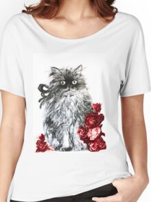 KITTEN WITH RED ROSES ,Black and White Women's Relaxed Fit T-Shirt