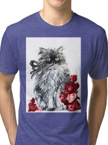 KITTEN WITH RED ROSES ,Black and White Tri-blend T-Shirt