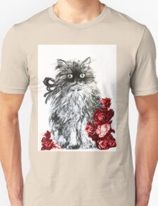 KITTEN WITH RED ROSES ,Black and White Unisex T-Shirt