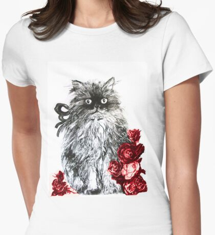 KITTEN WITH RED ROSES ,Black and White Womens Fitted T-Shirt