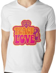 Love and Peace Mens V-Neck T-Shirt