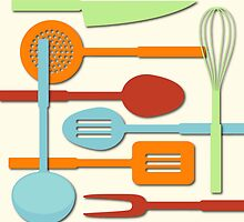 Kitchen Colored Utensil Silhouettes on Cream III by NataliePaskell