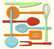 Kitchen Colored Utensil Silhouettes on Cream III Photographic Print