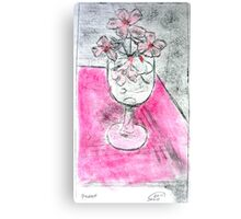Pink Flowers in Glass Etching Canvas Print