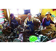Tibetan women spinning yarn Photographic Print