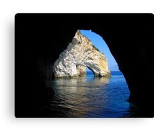Under an Arch - Framing the Blue Caves, Zante Canvas Print