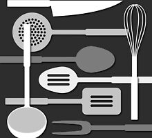 Kitchen Utensil Silhouettes Monochrome III by NataliePaskell