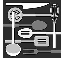 Kitchen Utensil Silhouettes Monochrome III Photographic Print