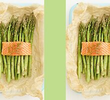 Green asparagus with salmon by Elisabeth Coelfen