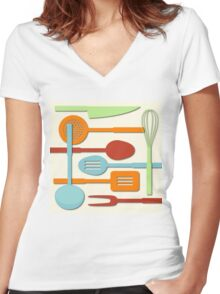 Kitchen Colored Utensil Silhouettes on Cream III Women's Fitted V-Neck T-Shirt