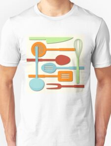Kitchen Colored Utensil Silhouettes on Cream III Unisex T-Shirt