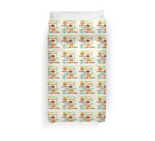 Kitchen Colored Utensil Silhouettes on Cream III Duvet Cover