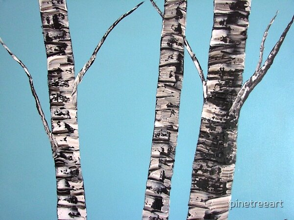 Baby Blue Birches by pinetreeart