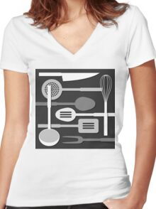 Kitchen Utensil Silhouettes Monochrome III Women's Fitted V-Neck T-Shirt